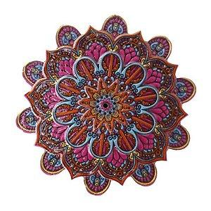 Mandala em Resina para Decoração Rosa Pink Vermelho e Azul