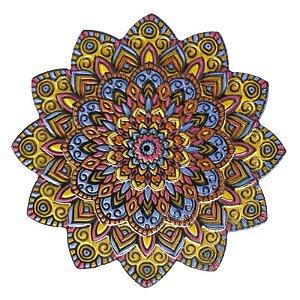 Mandala em Resina para Decoração Amarela Rosa e Azul