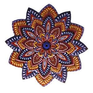 Mandala em Resina para Decoração Azul e Laranja