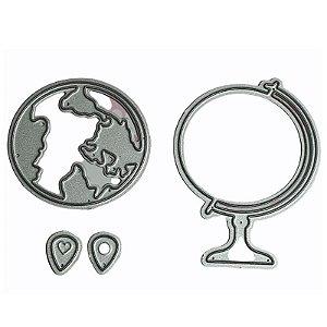 Faca de Corte em Metal Mapa Mundi com Globo 4 Peças