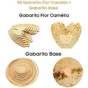 Kit Gabarito Flor Grande Camélia 10x15cm + Base Redonda