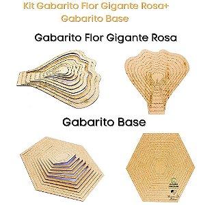 Kit Gabarito Flor Gigante Rosa 30x30cm + Bases