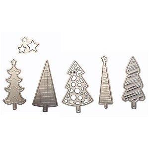 Faca de Corte em Metal Árvores de Natal 6 Peças