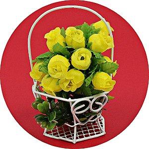 Mini Rosa em Cetim 144 Unidades Amarela