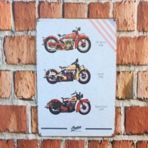 Placa em Metal Vintage de Motos 30cm x 20cm Indian6