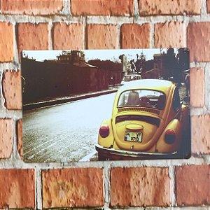Placa em Metal Vintage de VW Fusca 30cm x 20cm Fusca2