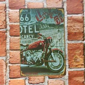 Placa em Metal Vintage Rota 66 30cm x 20cm Rota667
