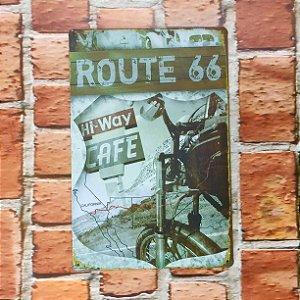 Placa em Metal Vintage Rota 66 30cm x 20cm Rota666