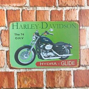 Placa em Metal Vintage de Motos 30cm x 20cm Harley8