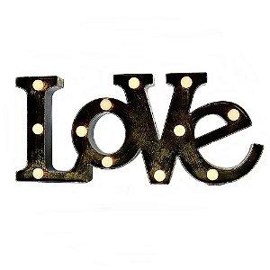Quadro Love Vintage com LED Decorativo - Tamanho 48x21cm