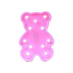 Luminária de Ursinho Rosa com LED para Decoração - Tamanho 25X17,5cm