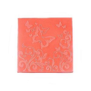 Placa de Textura Emboss 14 cm x 14 cm Borboleta 3D