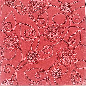 Placa de Textura Emboss 14 cm x 14 cm Rosas