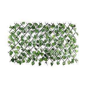 Treliça em Madeira com Folhas de Hera Artificial Grande