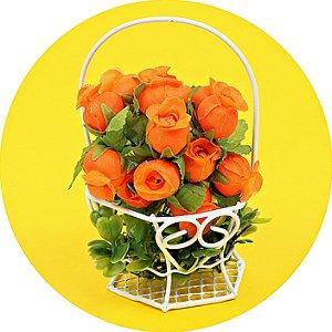 Mini Rosas de Cetim Laranja - 144 Unidades