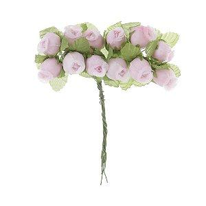 Mini Rosas de Cetim Rosa - 144 Unidades