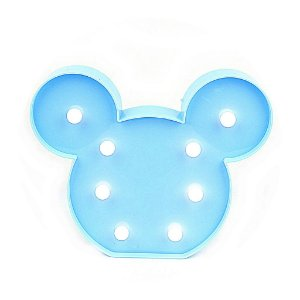 Luminária Mickey LED Decorativo Azul 21x17cm
