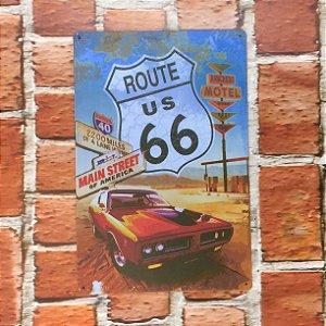 Placa em Metal Vintage Rota 66 30cm x 15cm Rota668