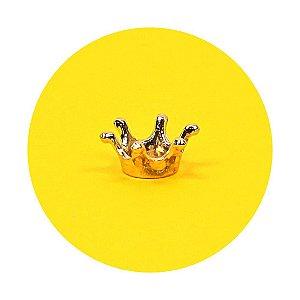 Coroa em Metal Dourada 1cm Pingente - 50 Unidades