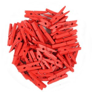 Mini Pregadores Vermelho - Tamanho 2,5cm - 100 unidades
