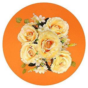 Buquê de Rosa Grande Creme - 5 Botões + Folhagem Noiva Decor