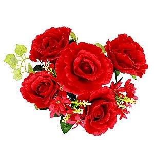 Buquê de Rosa Grande Vermelha 5 Botões + Folhagem Noiva