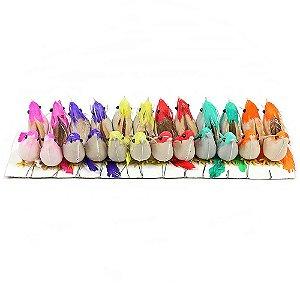 Passarinhos Artificiais Penas Naturais 7,5cm 24 Unidades Coloridas