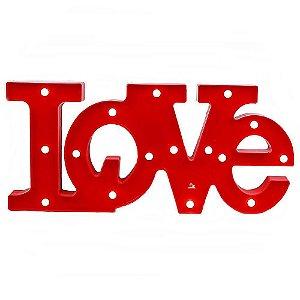 Placa Love Vermelha com LED Decorativo - Tamanho 51x23cm