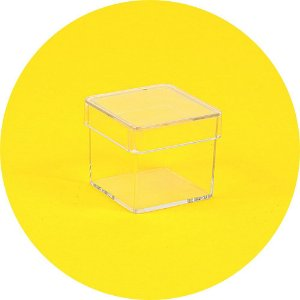 Caixinha em acrílico 3 x 3 cristal - 100 Unidades