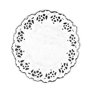 Papel Redondo Rendado 9cm branco - 100 unidades