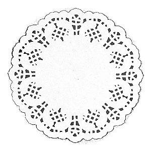 Papel Redondo Rendado 14cm branco - 100 unidades