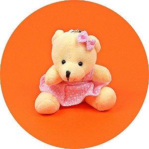 Mini Ursinho em Pelúcia Vestido Rosa 8cm - 10 unidades