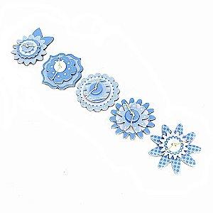Adesivos Chipboard para Scrapbook 3D Flores Azul e Branco