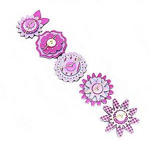 Adesivos Chipboard para Scrapbook 3D Flores Rosa e Branco
