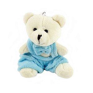 Mini Ursinho em Pelúcia Macacão Plush Azul 8cm 50 unidades