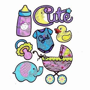 Adesivos para Scrapbook Bordado Puff Baby Menina Cute