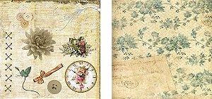 Papel para Scrapbook Desenhos 30,5x30,5 Art0008 Sépia