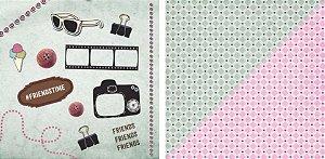 Papel para Scrapbook Desenhos 30,5x30,5 Art0023 Friends Time