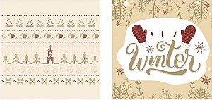 Papel para Scrapbook Desenhos 30,5x30,5 Art0172 Bordado de Inverno