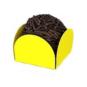 Forminha para Doce 4 pétalas Amarela com fundo de celofane 200 Unidades