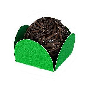 Forminha para Doce 4 pétalas Verde Escura com fundo de celofane 200 Unidades
