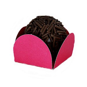 Forminha para Doce 4 pétalas Pink com fundo de celofane 200 Unidades