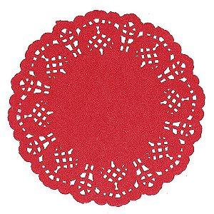 Papel Redondo Rendado 14cm vermelho - 50 unidades