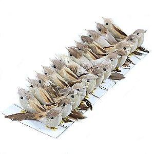 Passarinhos Artificiais Penas Naturais Marrom 7,5cm 12 Unidades