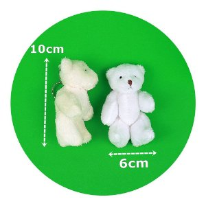 Mini Ursinhos de Pelúcia em Pé 10cm Branco 100 Unidades