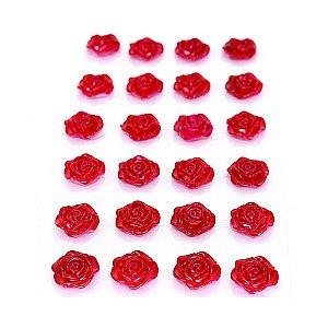 Mini Rosa Adesiva 18mm 24 Unidades Vermelha Metalizada