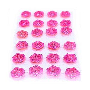 Mini Rosa Adesiva 18mm 24 Unidades Rosa Metalizada