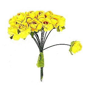 Mini Rosa de Papel Amarela 72 Unidades