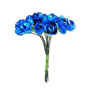 Mini Rosa de Papel Azul Turquesa 72 Unidades
