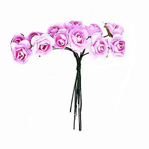 Mini Rosa de Papel Rosa Claro 72 Unidades